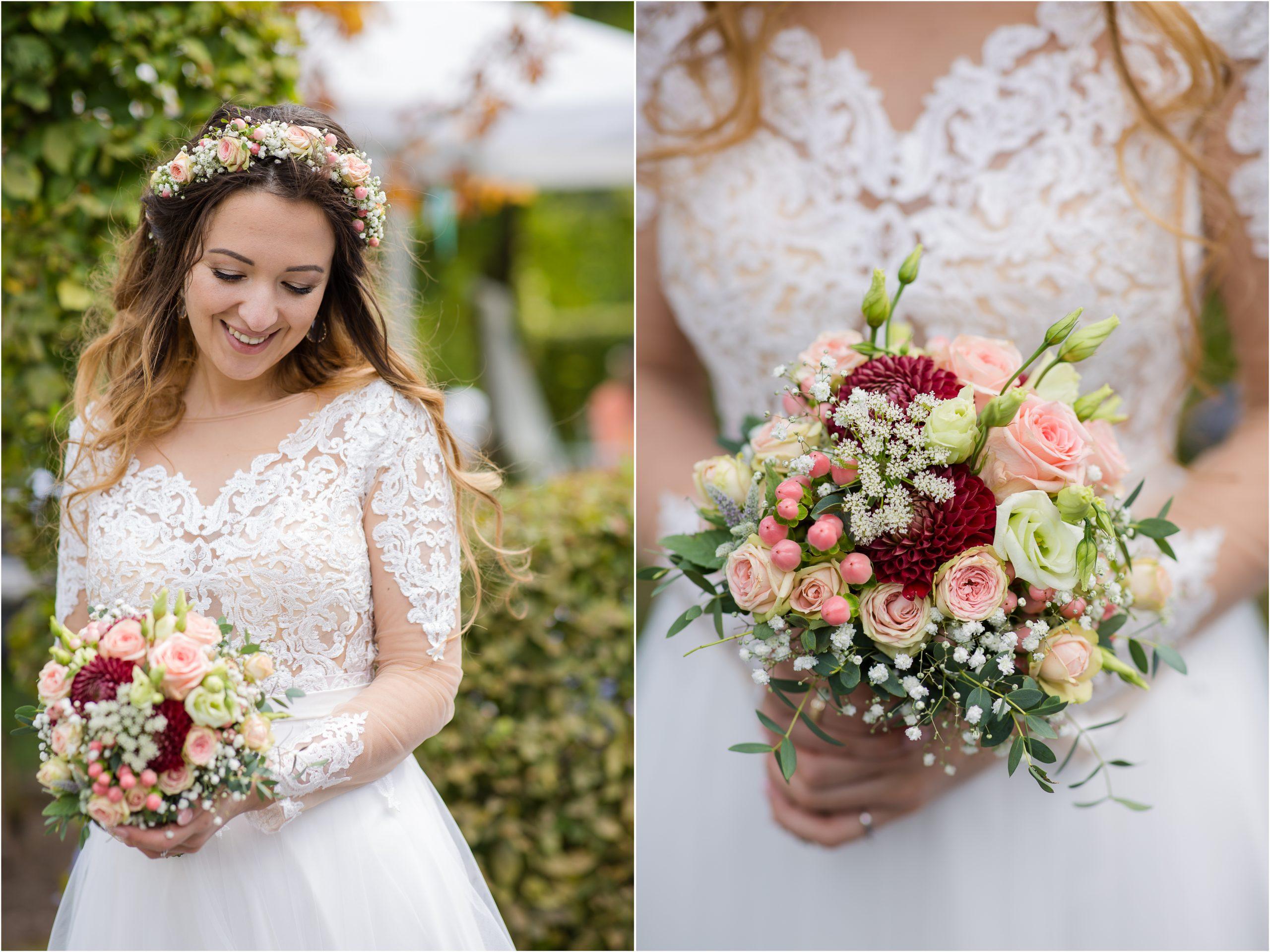 Braut traumhaft im Farbkonzept Apricot
