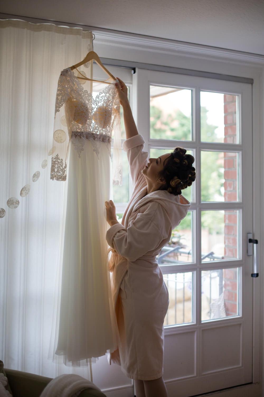 Hochzeit Farbkonzept Apricot Brautkleid
