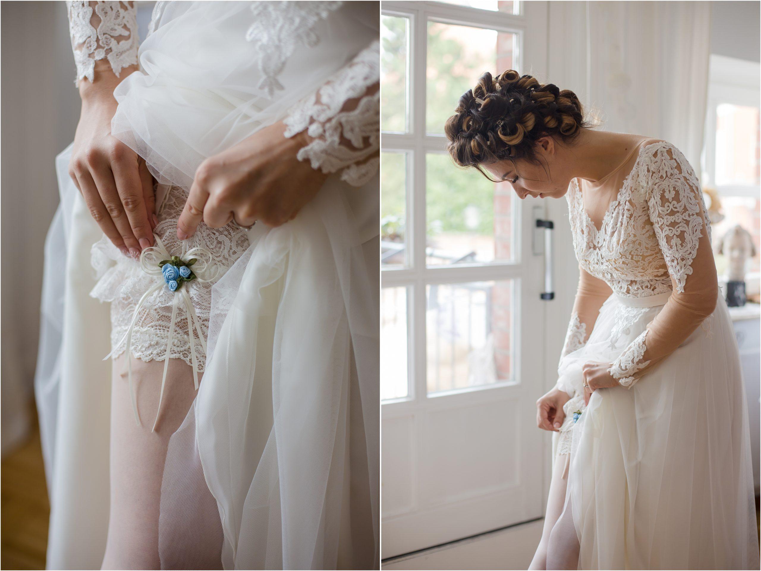 Hochzeit Strumpfband blau Farbkonzept