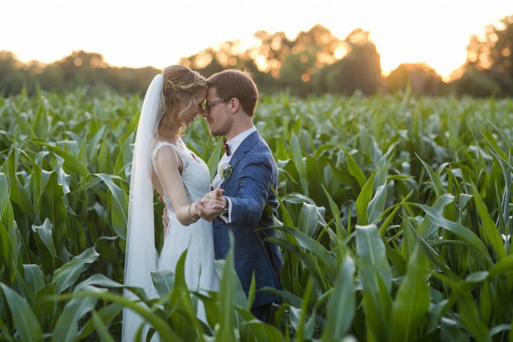 Hochzeitsfoto im Maisfeld