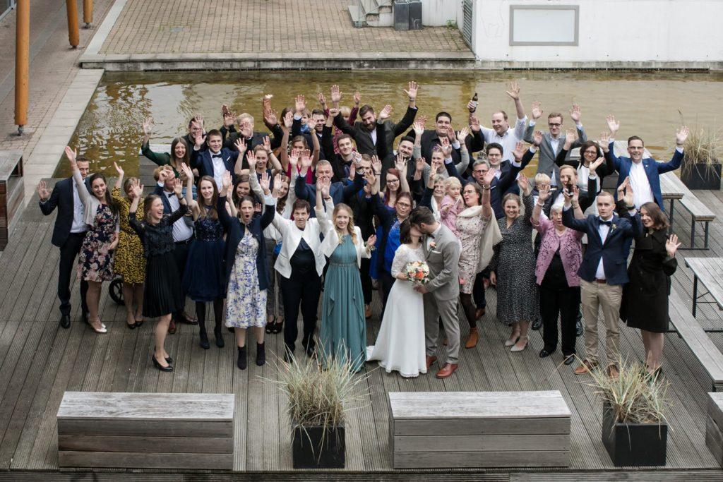Hochzeit Gruppenfoto von oben
